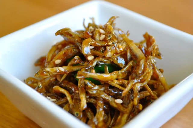 Myeolchi bokkeum in small white square dish