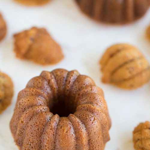 Sweet Brown Rice Mini Bundt Cakes and Cakelettes arranged on white marble