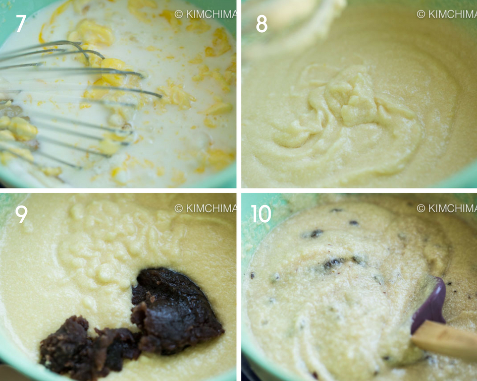 4 step by step images of mixing batter for cake