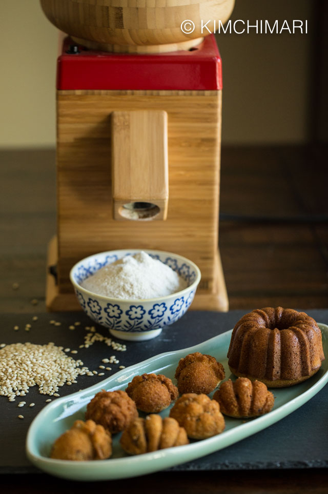 Sweet Rice Mini Bundt Cakes with Nutrimill Harvest Grinder and bowl of ground rice flour in the background