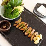 Korean BBQ Pork Jowl with Ssam at Poom Seoul restaurant