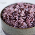 Purple Rice close up in green ceramic rice bowl