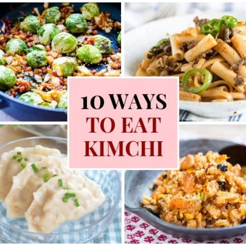 A collage image of different kimchi dishes