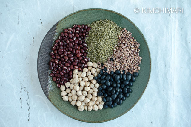 A plate of Five Grains for Korean Multigrain Rice