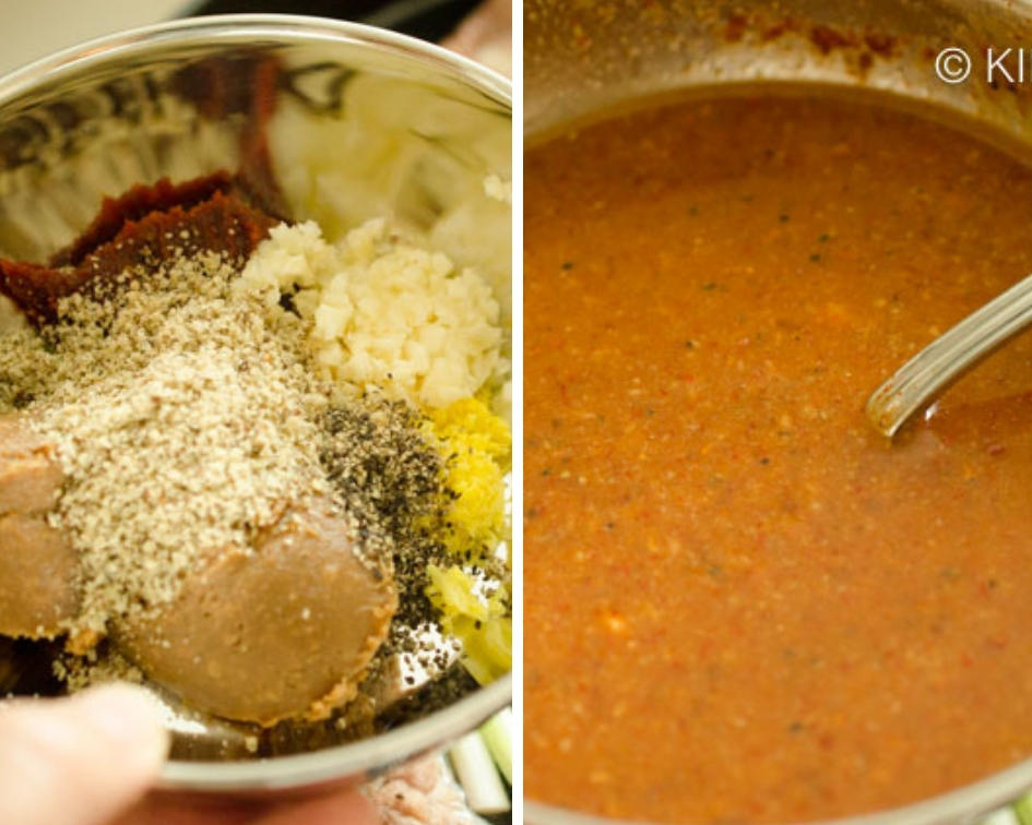 side by side view of gamjatang sauce before and after adding liquid
