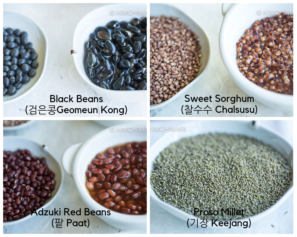 Different Grains for Korean Multigrain Rice or Ogokbap