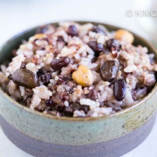 Bowl of cooked multigrain rice