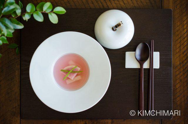 Water Kimchi with Watermelon Radish