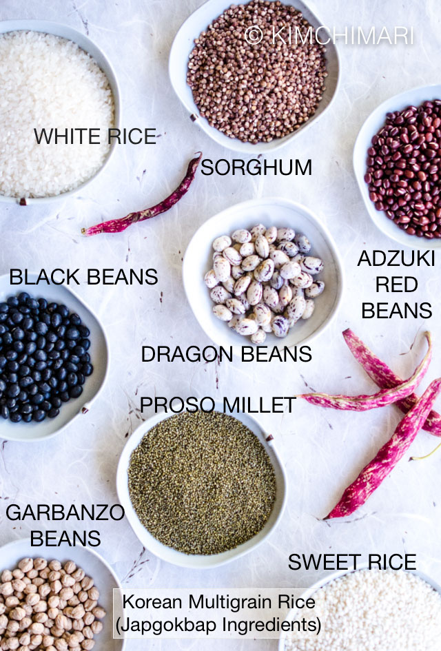 7 bowls of grains and beans ingredients for multigrain rice recipe