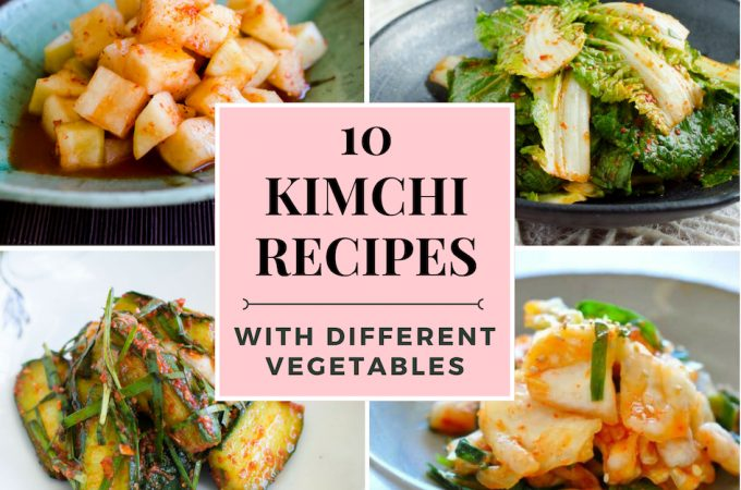 photo collage of different Kimchis for 10 kimchi recipes