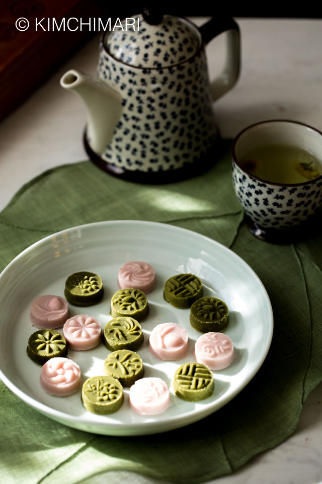green tea and omija cookies plated with pot of tea