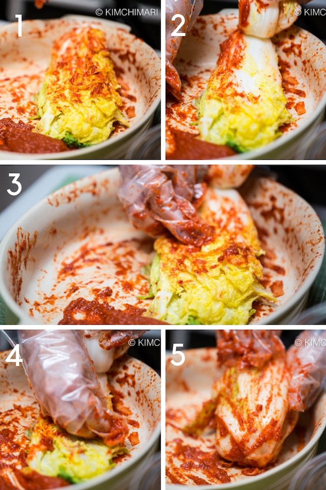Step-by-step pics of how to season Kimchi with seasoning paste