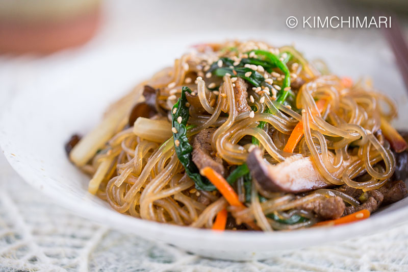 Japchae Korean Glass Noodles Closeup