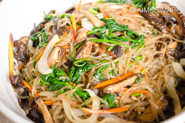 Japchae Mixed and Finished in Bowl