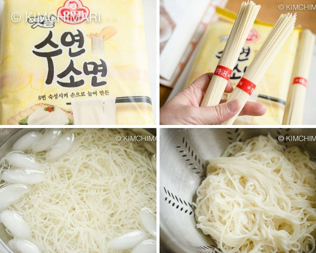 4 pics of dried somyeon noodles package then boiling in water and draining