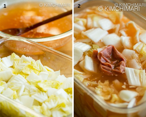 glass bowl with kimchi liquid and container of salted cabbage and radish then finally when liquid is added to container