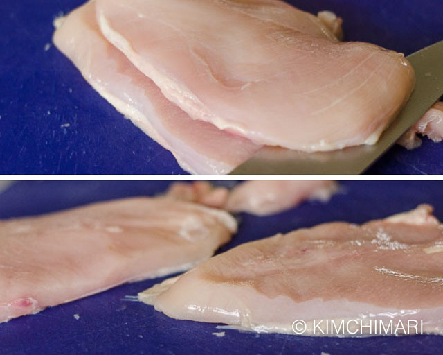 2 pics of cutting chicken breast horizontally to make into thinner cuts
