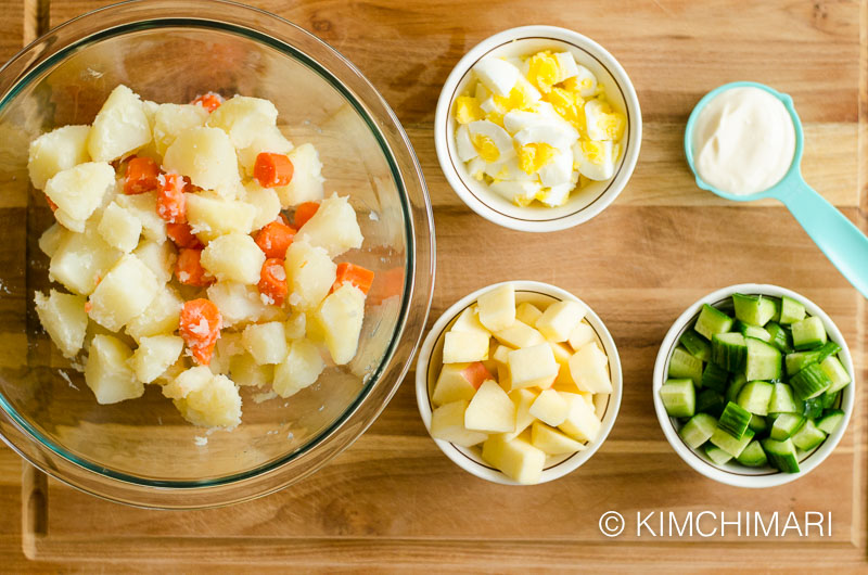 Korean Potato Salad Ingredients in bowls ready to mix