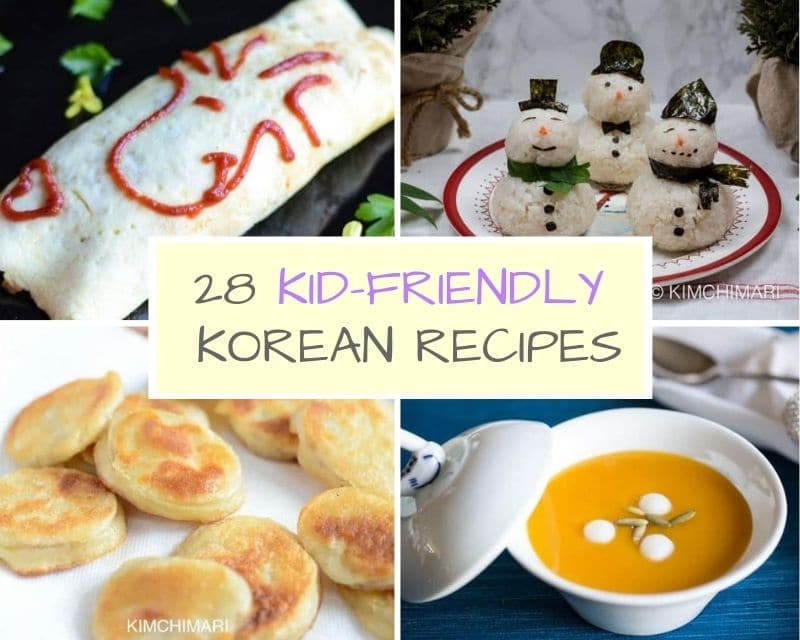 collage image of kid friendly korean recipes
