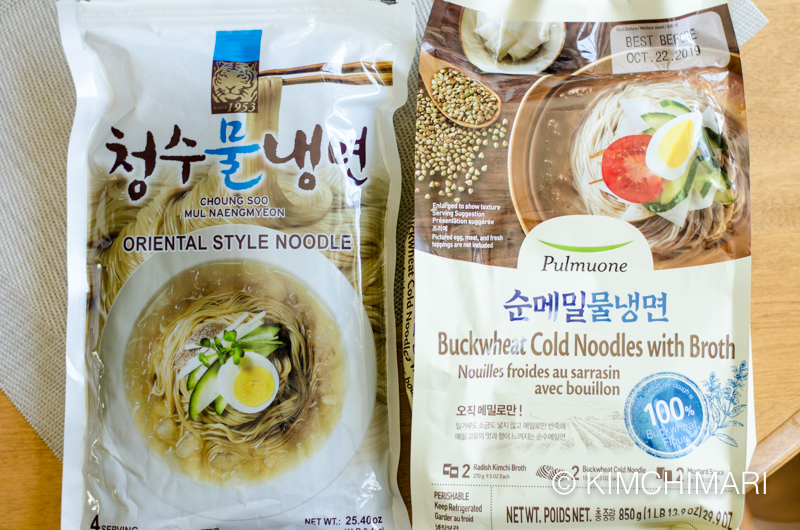 two mul naengmyeon packages that I like - Cheongsu and Pulmuone