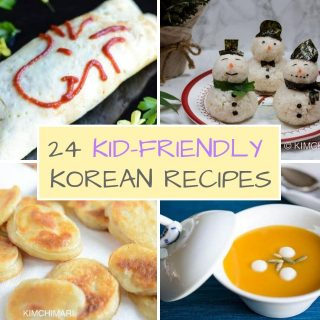 4 pics of kid friendly foods of omurice riceballs potato fritters and pumpkin porridge
