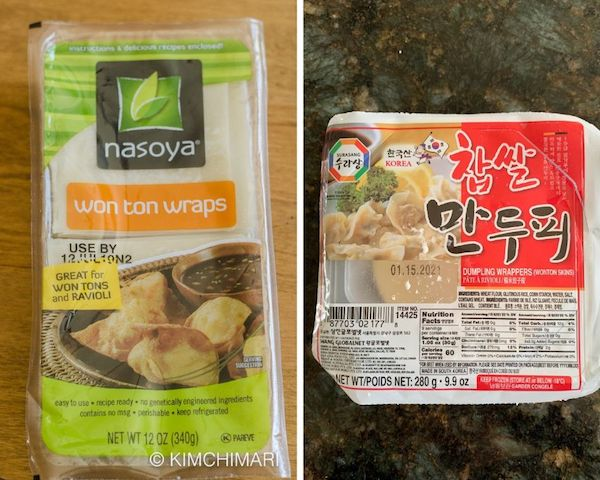 korean dumpling wrappers and wonton skins packages