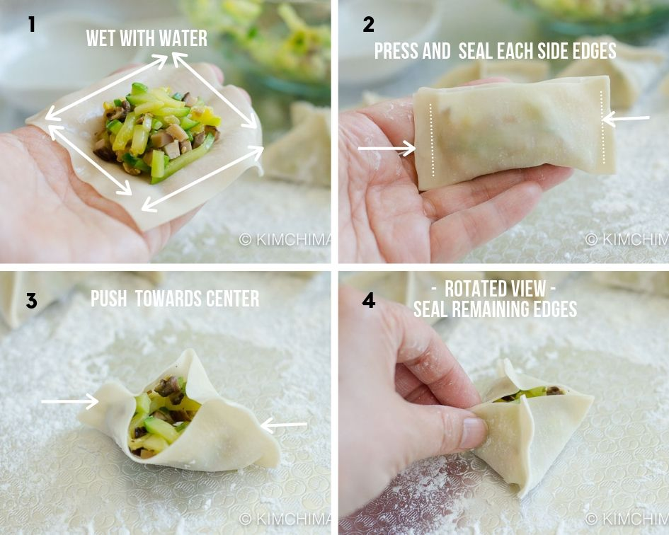 how to steps for making square dumplings mandu with a wrapper