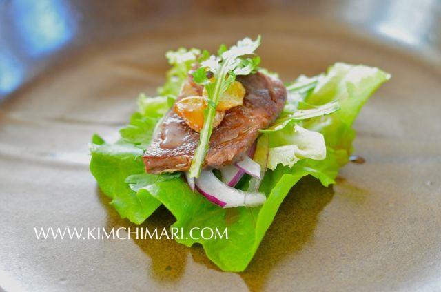 Rib Eye Steak Salad with Soy Plum Dressing