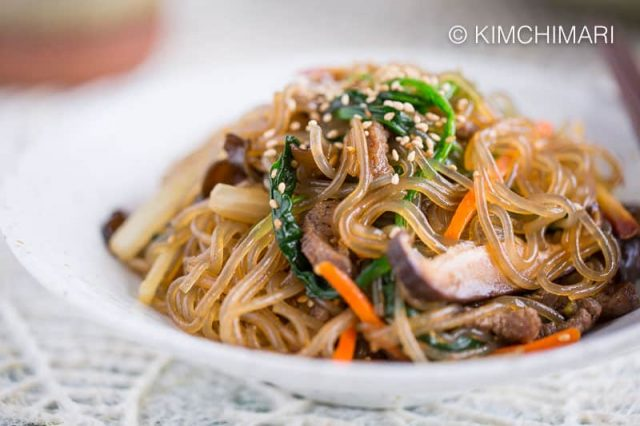 Korean Glass Noodles (Japchae)