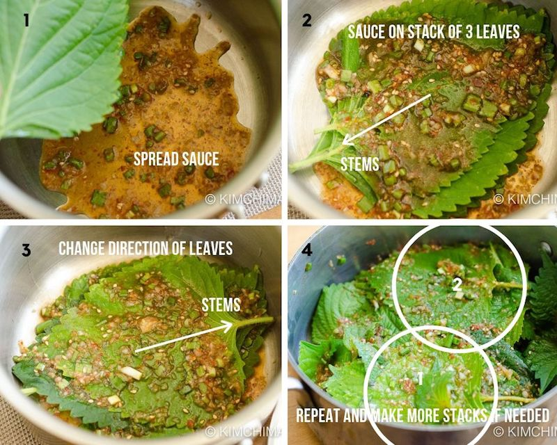 4 step by step image of stacking leaves in pot and sauce