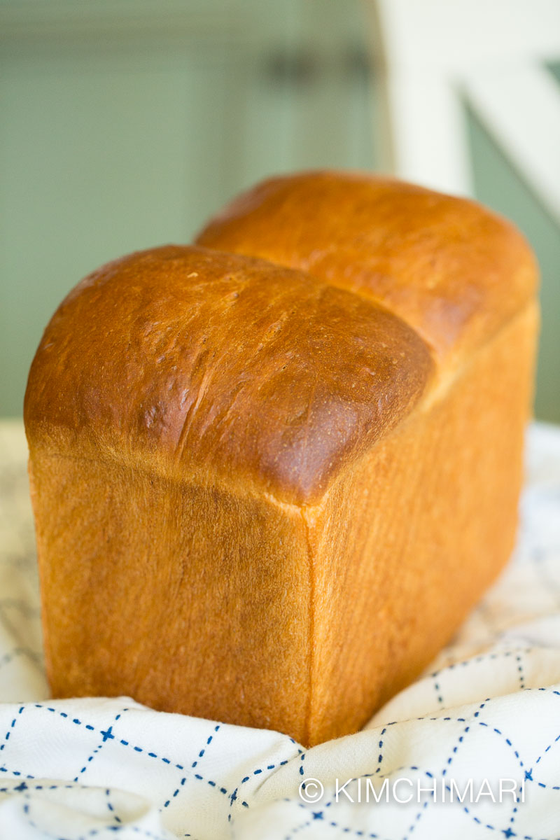 milk bread loaf on kitchen towel