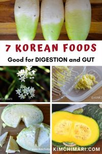 collage image of korean foods good for digestion - radish, pumpkin, chives, ginger