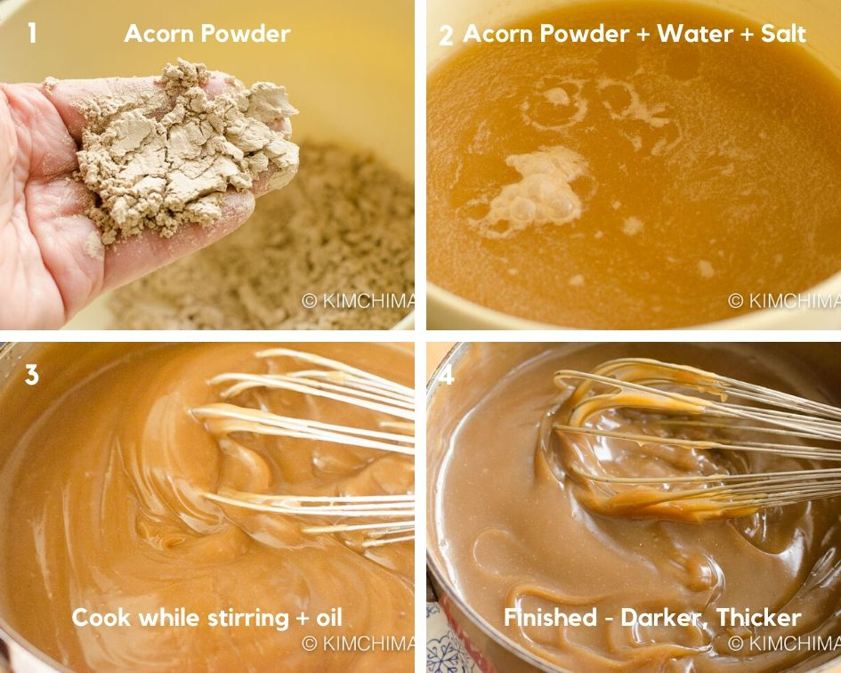 step by step pics of powder, being mixed into water then cooking on stove top