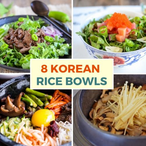collage image of 4 different korean rice bowls