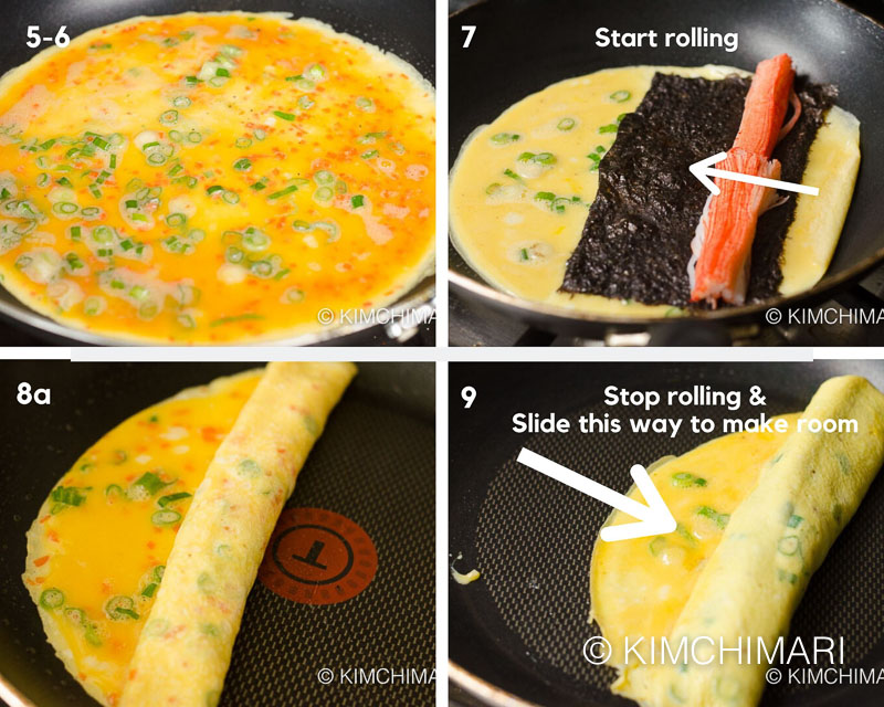 4 pics showing how to roll in frying pan