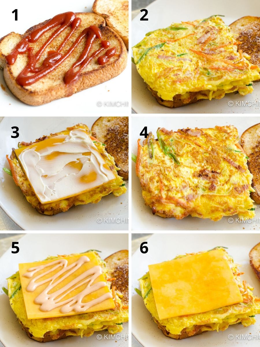 6 step by step pics of how to assemble Korean Street Toast