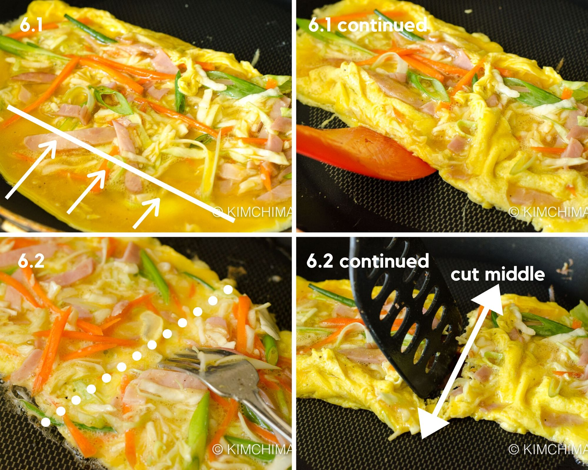 4 pics of pan frying egg omelette into a rectangle shape on frying pan for korean street toast