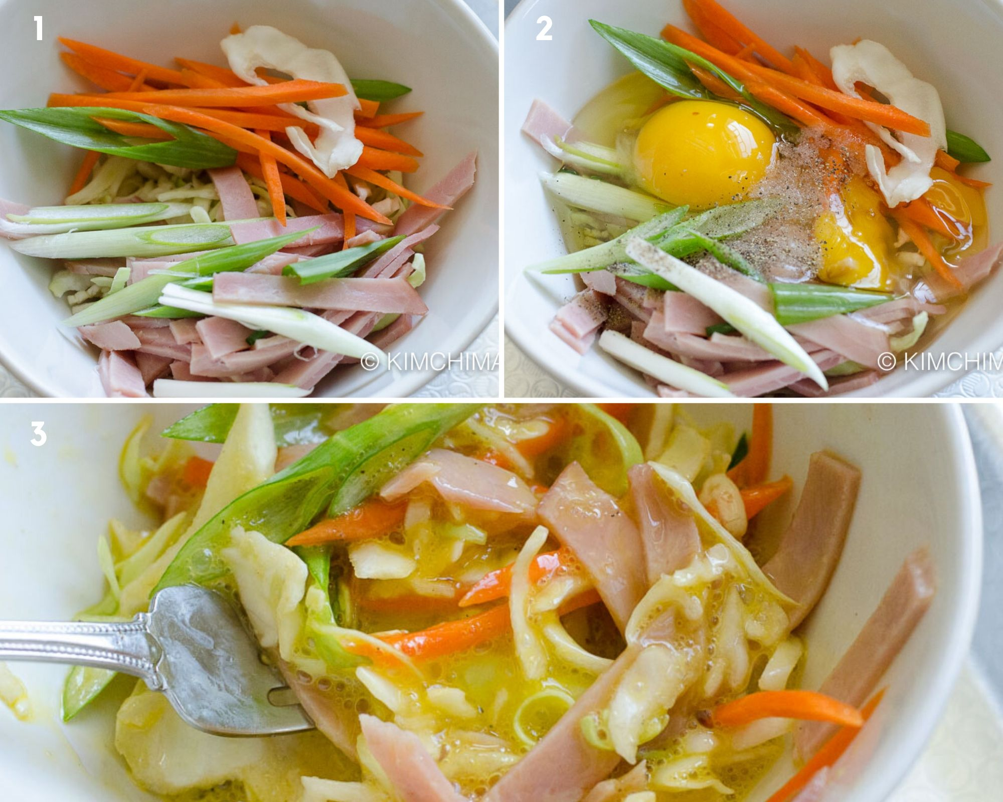 step by step pics of mixing vegetables, ham and egg in bowl with fork