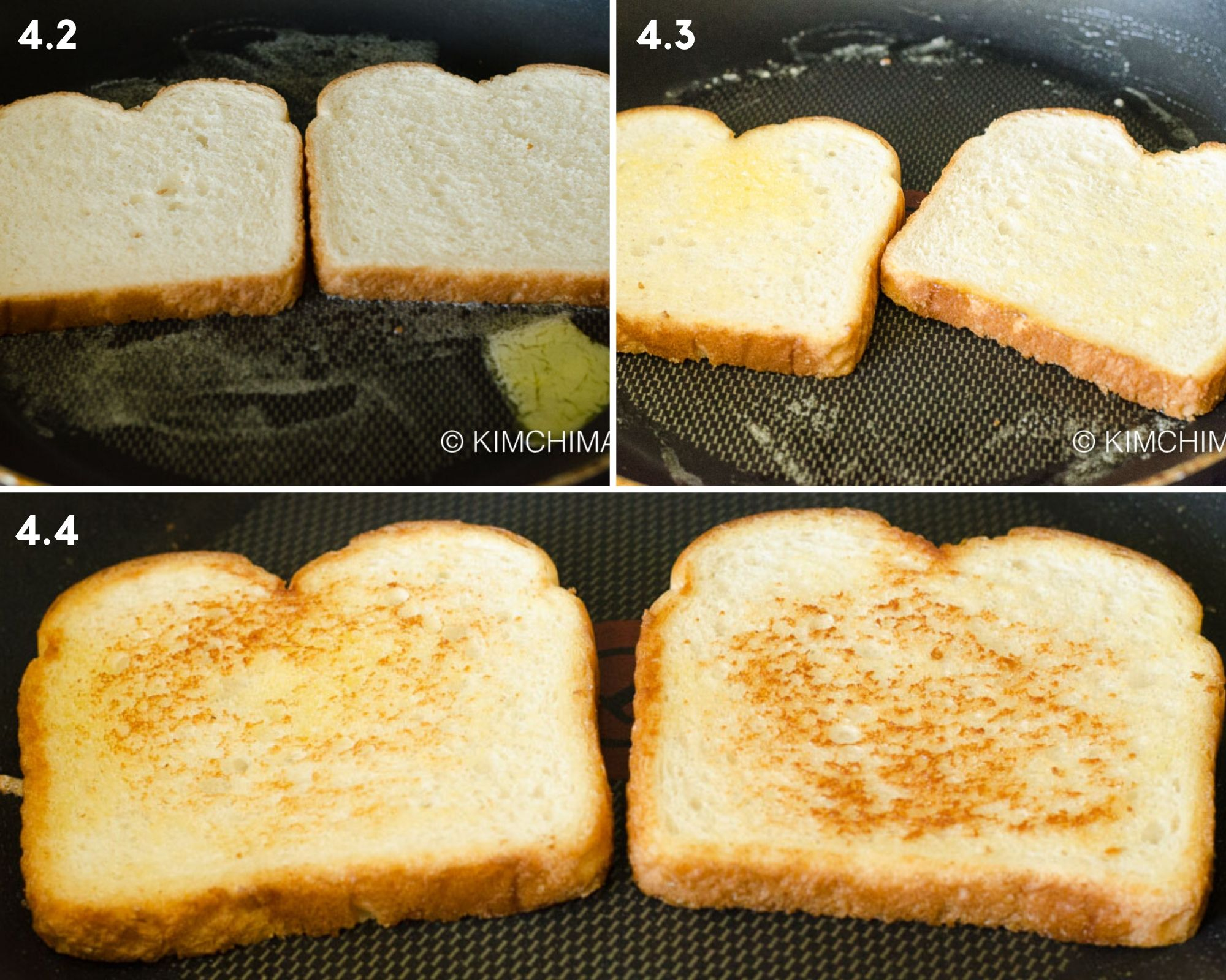 step by step pics for making butter toast in frying pan