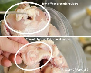 showing tail and shoulder part of chicken where fat needs to be trimmed off