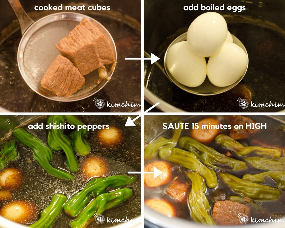 4 pics showing adding eggs, peppers to jangjorim