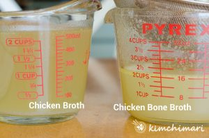 2 glass measuring cups with simple chicken broth vs bone broth