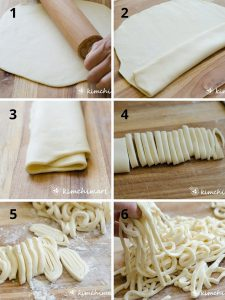 6 stepbystep pics of rolling out dough, folding and cutting noodles with knife