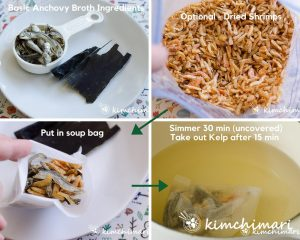 dried anchovies, kelp and dried shrimp for broth and broth cooking in pot