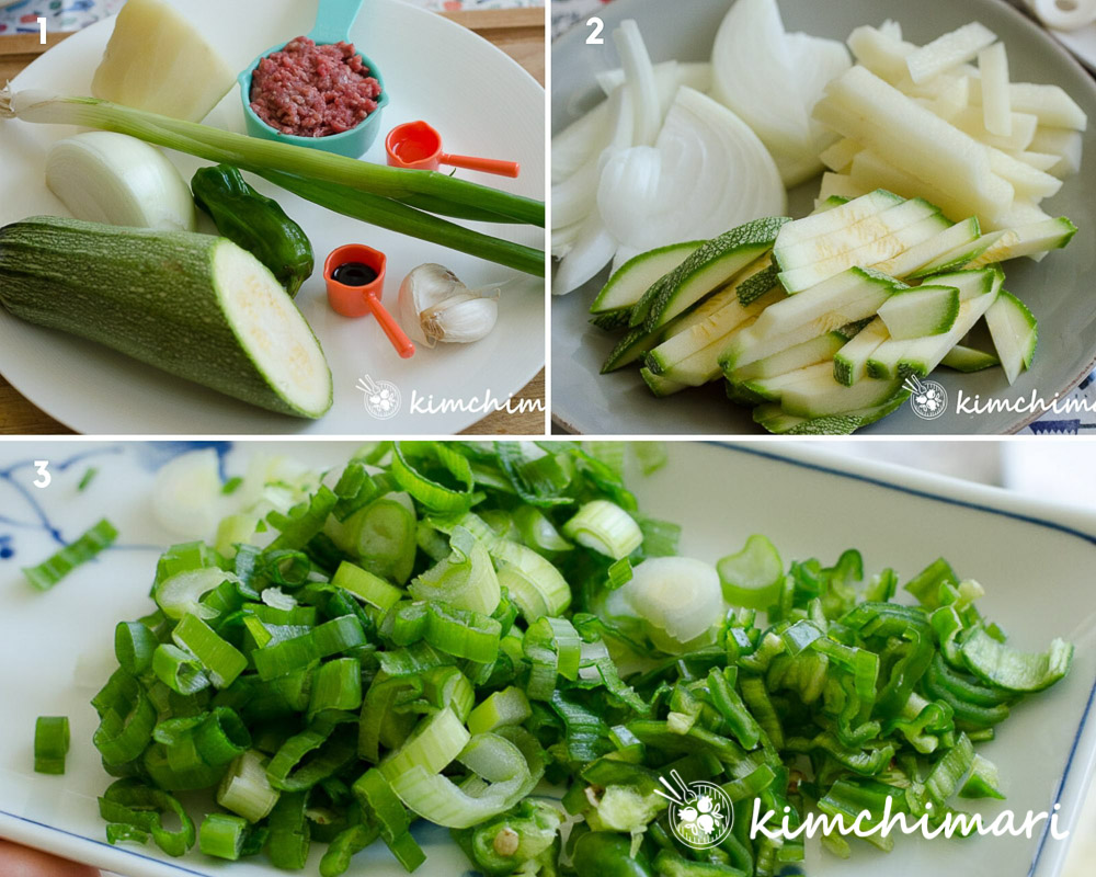 vegetable ingredients, cut and chopped for kalguksu