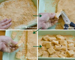 coating rice cake with soybean powder and cutting into squares