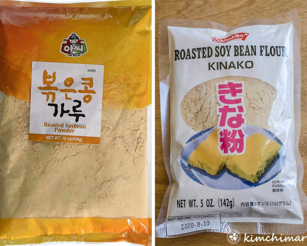 2 different soybean powder packages - Korean one on the left and Japanese one on the right