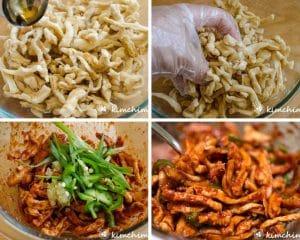 step by step images of seasoning mumalleangi muchim