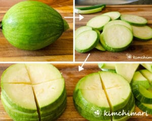 step by step images of slicing squash then cutting into quarters for hobak bokkeum