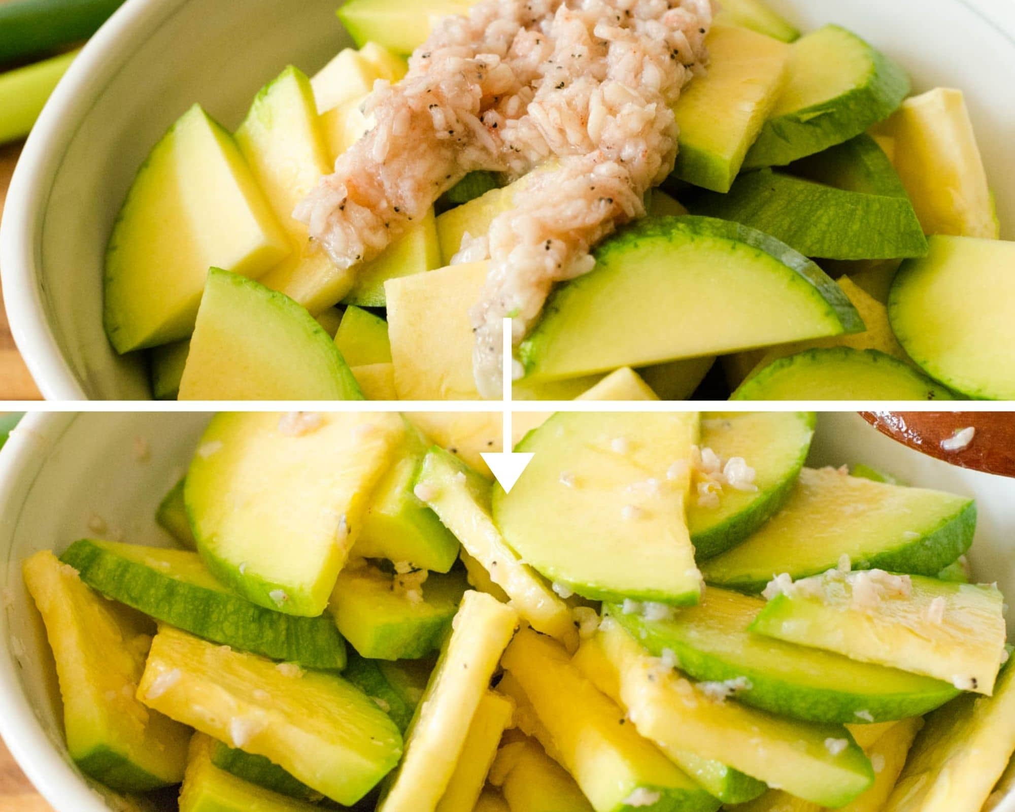 2 images with top one having saewoojeot added to squash slices then picture of it all mixed